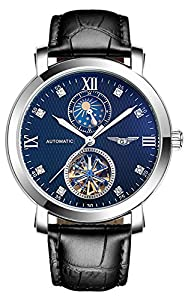 Fanmis Business Waterproof Moon Phase Automatic Mechanical Men Watch Black Leather Strap Blue