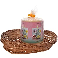 Auroshikha Scented Pillar Candle With Free Basket (316 Gm, Yellow)