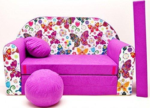 Kindersofa Bettfunktion 3in1 (Kindersessel, Ausziehbett, Schmetterlinge) M33, Pink