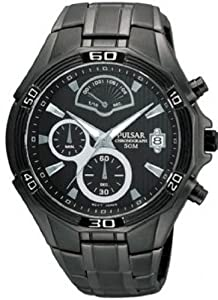 Mens Watch Pulsar PS6035 Black Stainless Steel Chronograph Black Dial