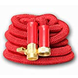 Best 50' Expanding Hose, Strongest Expandable Garden Hose on the Planet. Solid Brass Ends, Double Latex Core, Extra Strength Fabric, 2016 design