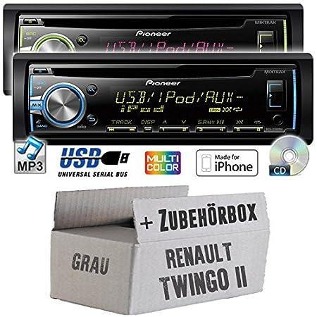 Renault twingo 2-gris-pioneer dEH-x3800UI-cD/mP3/uSB avec kit de montage