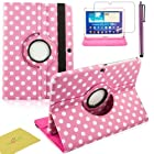 Fulland Colorful 360 Rotating Flip Leather Case Cover for Samsung Galaxy Tab3 10.1 P5200 with Smart Auto Wake/Sleep Function plus Stylus Touch Screen Pen and Screen Protector-Polka Dot Pink/White