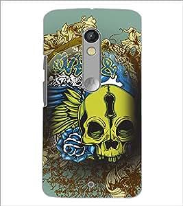 PrintDhaba skull D-4626 Back Case Cover for MOTOROLA MOTO X PLAY (Multi-Coloured)
