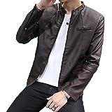p-smile (ピースマイル) メンズ レザー ライダースジャケット シングル 胸ポケット 黒 ワイン 茶 流行 バイク ライダース ジャケット コート ハーフコート かっこいい 大人 細身 合わせやすい つや消し マット (M, ブラウン)