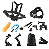 {New Version} Gopro 9-in-1 Accessory Kit for Gopro 4 Gopro Hero 3+,gopro Hero 3,gopro Hero 2 and Gopro Hero Cameras Outdoor Sports Kit Camping Hiking Parachuting Swimming Rowing Surfing Skiing Climbing Running Bike Riding Diving
