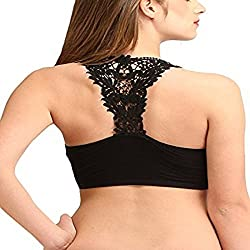 Net, Lace Stretchable Crop Tops / Blouse / Tank Top / Cut Out Padded Bra/Bralet/Bralette Black (removable pads)