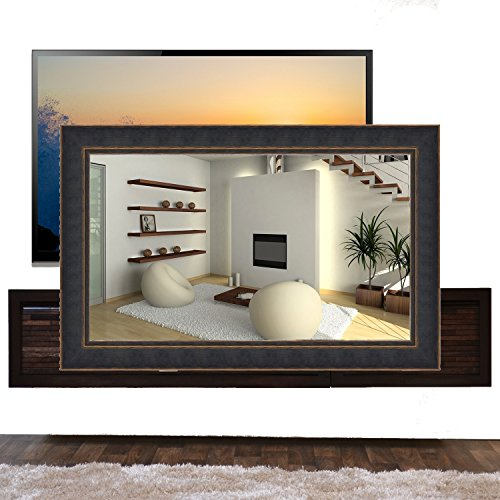 Handmade Framed Mirror to Turn Your Existing TV to Hidden Mirrored Television that Blends into Your Home or Business Decor (55 Inch, NY Black Orange)