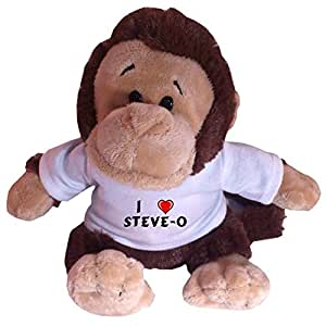 Mono de juguete de peluche con Amo Steve-o en la camiseta (nombre de pila/apellido/apodo)