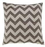 URBANARA Medas cushion - 100% cotton percale, goose/duck feather inner - off-white, grey/brown chevron design, square 50x50 cm