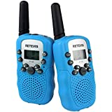 Retevis RT388 Walkie Talkies UHF446MHz Frequency 8 Channels with LCD Display Flashlight Kids 2-Way Radio(Sky Blue,Pack of 2)