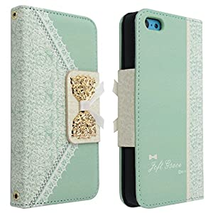 Bow Lace Fashion Wallet Flip Feature with Credit/id Card Slots/holder&strap PU Leather Bling Case Cover For Samsung Apple Smart Mobile Phone (iPhone 5c) (green)