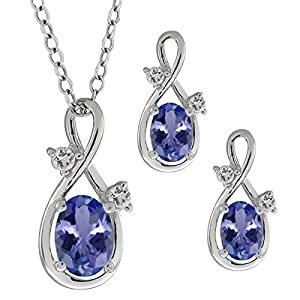 """1.73 Ct Oval Natural Blue Tanzanite 925 Sterling Silver Pendant Earrings Set 18"""""""