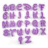 MyPhone Designs - Funky Uppercase Purple Alphabet Letters (26 pcs) And Numbers (10 pcs) Fondant Plastic Cookie Cutters - 36 Pieces