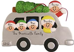 2206 Family of 5 with Christmas Tree Tied On Top Of Car Christmas Ornament