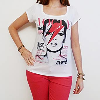 Kate Moss David Bowie T-shirt Femme Celebrity ONE IN THE CITY - Blanc, S