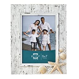 Prinz Sand Piper Resin Frame in Natural White with Seashells and Starfish Accents, 5 by 7-Inch