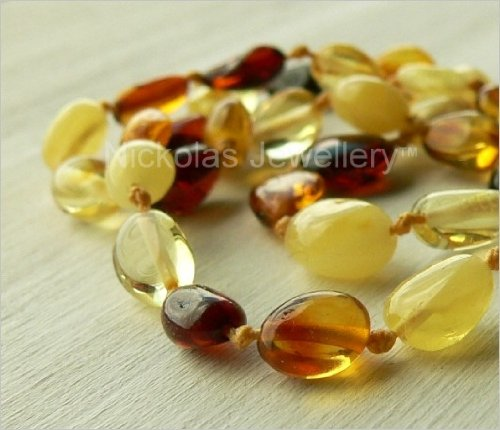 Children's Multicolour Amber Necklace - Bean Shaped Beads
