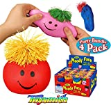 Toysmith Moody Face Stress Balls Red, Blue, Pink & Yellow Gift Set Party Bundle - 4 Pack