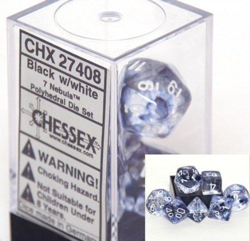 Chessex Nebula Black 7 Piece Dice Set