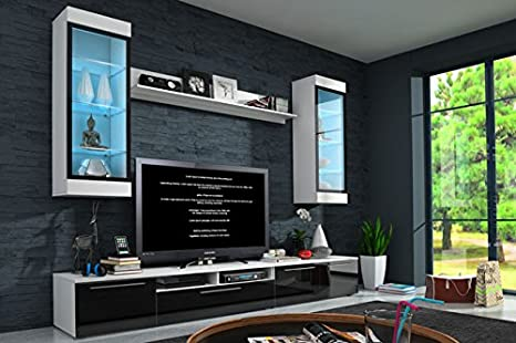 Muebles Bonitos - Mueble de salón Ana negro (2,5m), (otros colores disponibles)