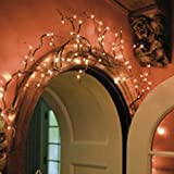 Willow Twig Garland, 6 ft. Bendable Branches, 96 Rice Lights, Electric Plug In