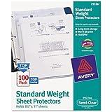 Avery 75536 Easy load top load standard polypropylene sheet protectors, semi-clear, 100/box