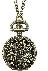 Youyoupifa Bronze Alloys Carve Patterns With Flowers Quartz Pocket Watch(Unisex)