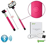 IPOW Extendable Self-portrait Wireless Bluetooth Remote Camera Shooting Shutter Monopod Selfie Handheld Stick Pole with Mount Holder specially designed for Iphone 6 5s 5c 5 4s 4 Samsung Galaxy Mobile Cell Phone,Hot Pink
