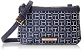 Tommy Hilfiger Jane Double Top Zip Shoulder Bag, Navy/White, One Size