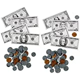 224pc Alazco Play Money Set - Coins and Bills - Fun & Educational, Playful Learning Teaching Math Counting Banking Finance Saving Shopping Games