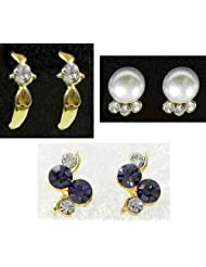 DollsofIndia Three Pairs Of Small Stone Setting Stud Earrings - Stone And Metal - White