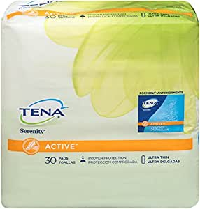 TENA Serenity Active Ultra Thin Regular Pads, 30 Count (Pack of 6)