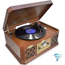buy Pyle Ptcd4Bt Bluetooth Wireless Streaming Classic Retro Style Record Player Turntable With Cd Player, Cassette Deck, Am/Fm Radio, Headphone Jack & Built-In Speakers