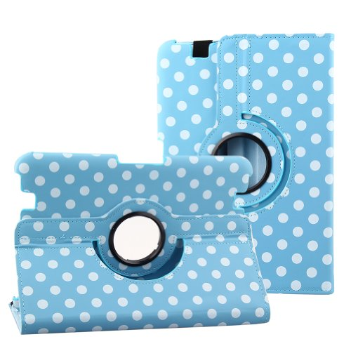 Topchances Pu Leather Case Cover In 2012 Kindle Fire Hd 8.9 With 360 Degree Rotating Stand And Magenetic Functions-Blue Polka Dot Decoration