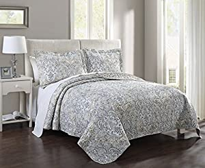 3 Piece King Kathryn Blue/Taupe Quilt Set