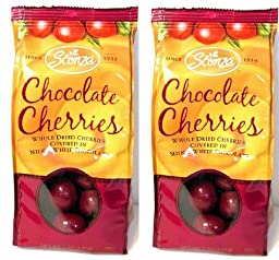 Sconza Chocolate Covered Cherries (Pack of 2) 5 oz Bags