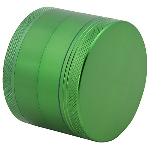 DCOU-Large-Aluminum-Pollen-Tobacco-Grinder-Spice-Grinder-Herb-Grinder-Weed-Grinder-Plant-Grinder-with-Sifter-with-Magnetic-Cover-4-Piece-25-Inches-Green