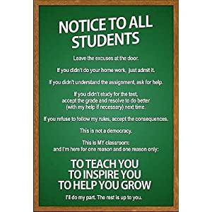 (11x17) Notice to all Students Classroom Rules Poster