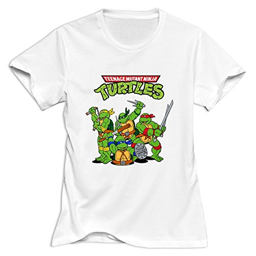Women's Teenage Mutant Ninja Turtles 100% Cotton T-Shirt White By Xuruw