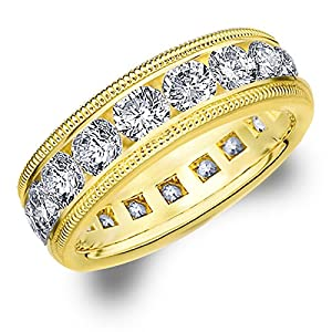 18K Yellow Gold Diamond Milgrain Wedding Band  Size 10
