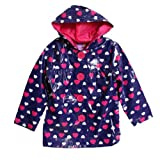 Pink Platinum Kid Girls Pink Navy Blue Heart Polka Dot Hooded Raincoat Jacket