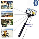 Minisuit Selfie Stick Pro with Built-In Remote for Apple & Android - Black