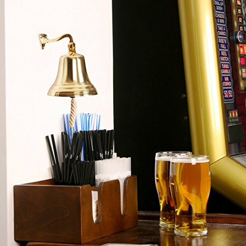Brass Last Orders Bell Small 3.5inch / 90mm | bar@drinkstuff Small Brass Bell - Ships Bell, Pub Bell, Wall Mountable Bell - Ideal for Pubs & Home Bars by