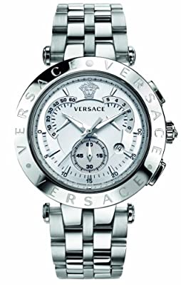 Versace Men's 23C99D002 S099 V-Race Stainless-Steel White Dial Chronograph Watch