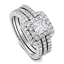 buy Princess Cut Center Stone Cz Sterling Silver Triple Band Engagement Ring & Wedding Band (8)
