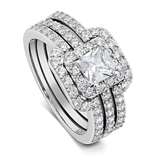Princess Cut Center Stone CZ Sterling Silver Triple Band Engagement Ring & Wedding Band (8)