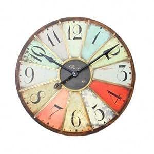Heaven sends grande horloge murale style vintage multicolore 74 cm cuisine maison for Horloge murale multicolore