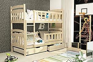 Casper BUNK BED 185x80 pine colour with 2 foam mattresses + storage- Free P&P