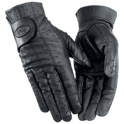 River Road Tucson Women's Leather Harley Cruiser Motorcycle Gloves - Black / X-Large